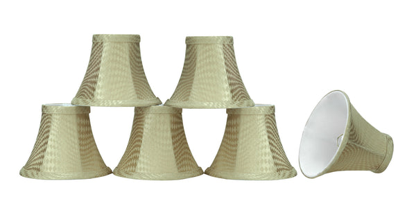 "# 30060-X Small Bell Shape Mini Chandelier Clip-On Lamp Shade, Transitional Design in Dark Beige, 6"" bottom width (3"" x 6"" x 5"") - Sold in 2, 5, 6 & 9 Packs"