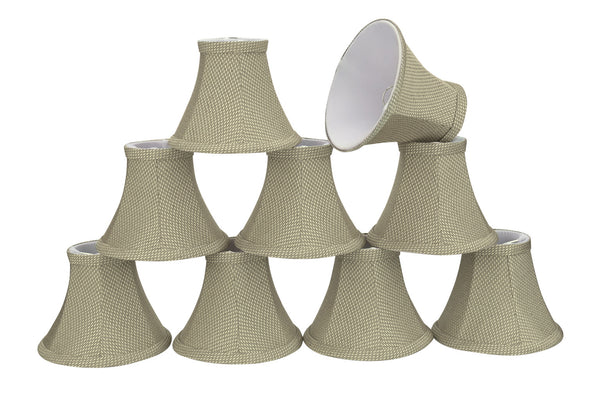 "# 30061-X Small Bell Shape Mini Chandelier Clip-On Lamp Shade, Transitional Design in Light Beige, 6"" bottom width (3"" x 6"" x 5"") - Sold in 2, 5, 6 & 9 Packs"