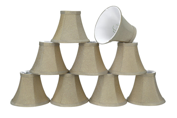 "# 30064-X Small Bell Shape Mini Chandelier Clip-On Lamp Shade, Transitional Design in Light Golden, 6"" bottom width (3"" x 6"" x 5"") - Sold in 2, 5, 6 & 9 Packs"