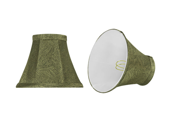 # 30066-X Small Bell Shape Chandelier Clip-On Lamp Shade Set of 2, 5, 6,and 9, Transitional Design in Green Print, 6