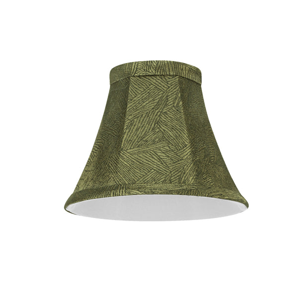 "# 30066-X Small Bell Shape Chandelier Clip-On Lamp Shade Set of 2, 5, 6,and 9, Transitional Design in Green Print, 6"" bottom width (3"" x 6"" x 5"")"