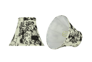 "# 30067-X Small Bell Shape Chandelier Clip-On Lamp Shade Set of 2, 5, 6,and 9, Transitional Design in White with Printed Pattern, 6"" bottom width (3"" x 6"" x 5"")"
