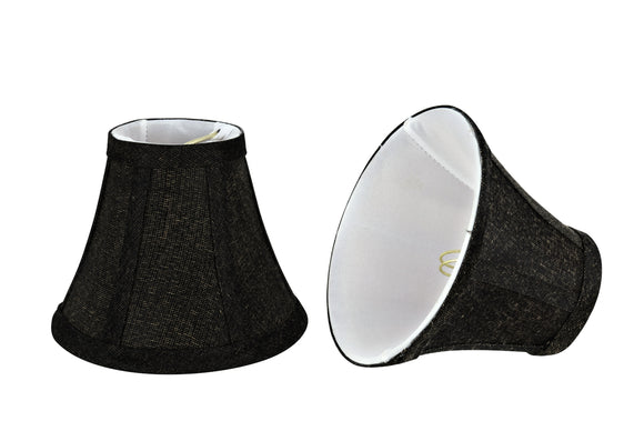 # 30070-X Small Bell Shape Chandelier Clip-On Lamp Shade Set of 2, 5, 6,and 9, Transitional Design in Two-Tone Black, 6