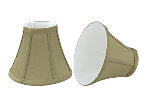 "# 30071-X Small Bell Shape Chandelier Clip-On Lamp Shade Set of 2, 5, 6,and 9, Transitional Design in Yellowish Brown, 6"" bottom width (3"" x 6"" x 5"")"