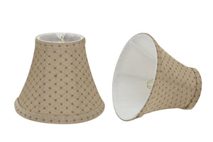 "# 30072-X Small Bell Shape Chandelier Clip-On Lamp Shade Set of 2, 5, 6,and 9, Transitional Design in Beige, 6"" bottom width (3"" x 6"" x 5"")"