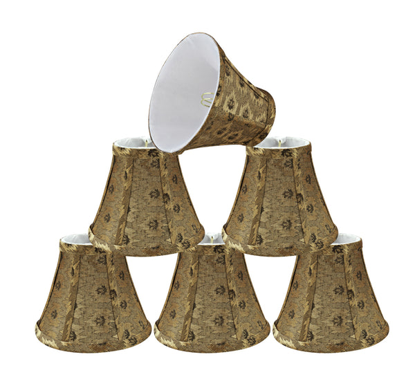 "# 30073-X Small Bell Shape Chandelier Clip-On Lamp Shade Set of 2, 5, 6,and 9, Transitional Design in Pumpkin Gold, 6"" bottom width (3"" x 6"" x 5"")"