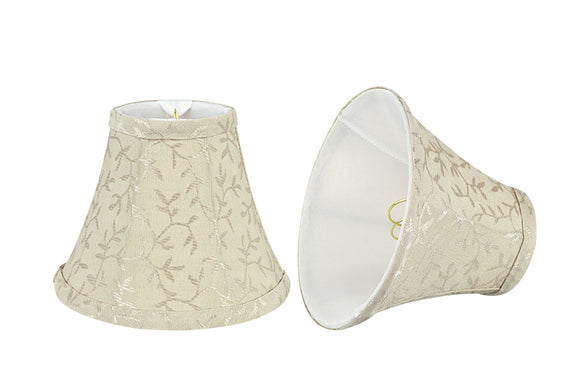 # 30077-X Small Bell Shape Chandelier Clip-On Lamp Shade Set of 2, 5, 6, and 9, Transitional Design in Beige, 6