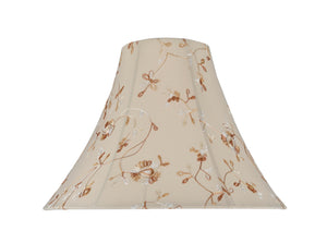 "# 30082 Transitional Bell Shape Spider Construction Lamp Shade in Apricot Fabric with Design, 16"" wide (6"" x 16"" x 12"")"