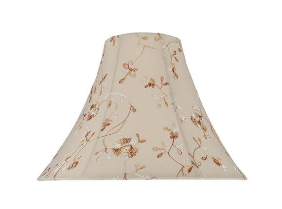 # 30082 Transitional Bell Shape Spider Construction Lamp Shade in Apricot Fabric with Design, 16