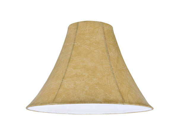 "# 30083  Transitional Bell Shape Spider Construction Lamp Shade in Dust Grey Artificial Parchment, 16"" wide (6"" x 16"" x 12"")"