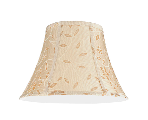 "# 30091  Transitional Bell Shape Spider Construction Lamp Shade in Gold with a Floral Design, 13"" wide (7"" x 13"" x 9 1/2"")"