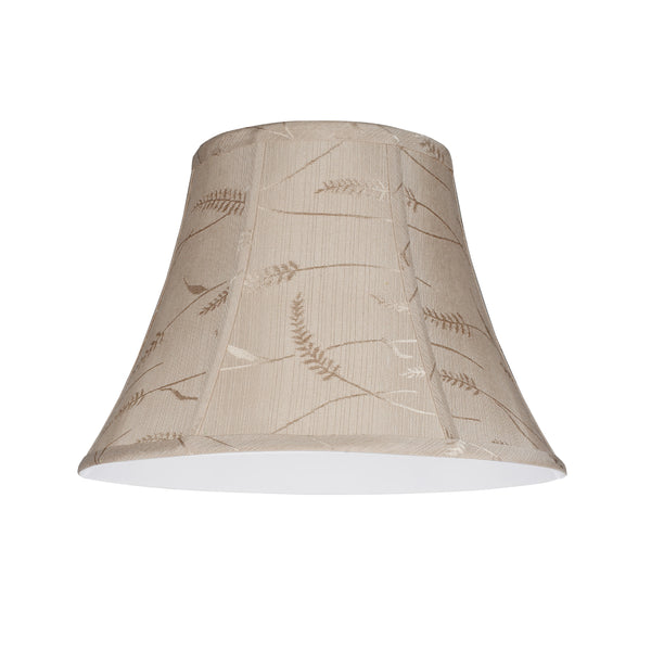"# 30092 Transitional Bell Shape Spider Construction Lamp Shade in Oatmeal Fabric with Design, 13"" wide (7"" x 13"" x 9 1/2"")"