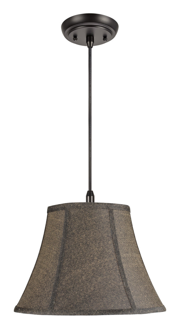 # 70093 1-Light Hanging Pendant Ceiling Light with Transitional Bell Fabric Lamp Shade, Two-Toned Textured Black, 13