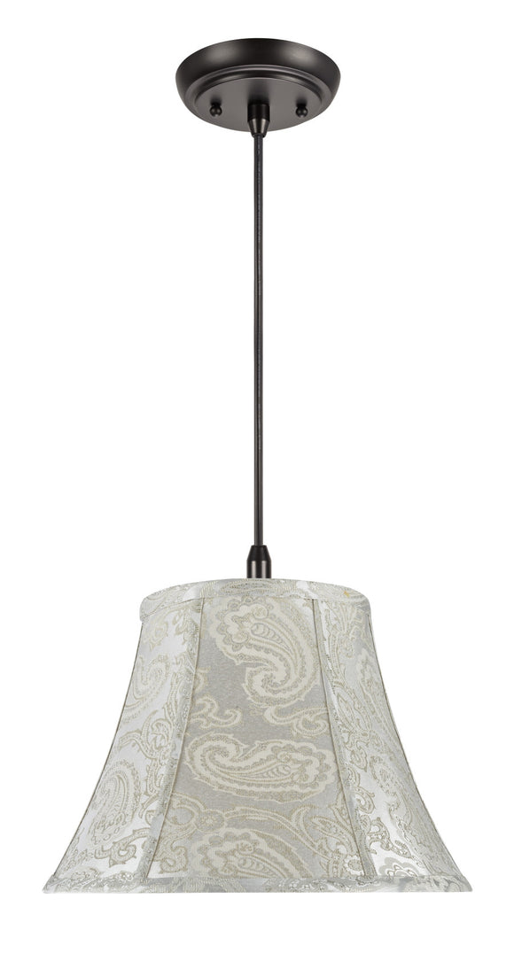 # 70095 1-Light Hanging Pendant Ceiling Light with Transitional Bell Fabric Lamp Shade, Classic Silver - Paisley Pattern, 13