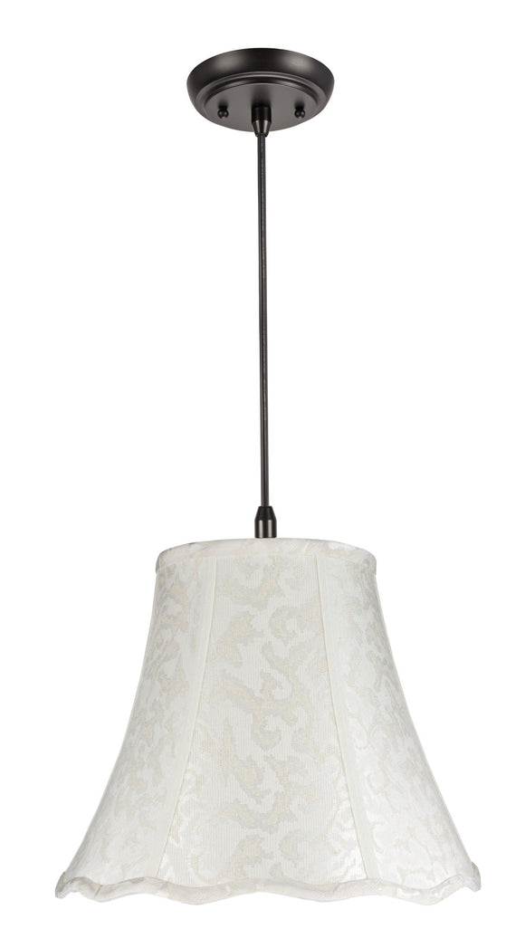 # 70101 1-Light Hanging Pendant Ceiling Light with Transitional Bell Lamp Shade in an Off White Textured Fabric, 14