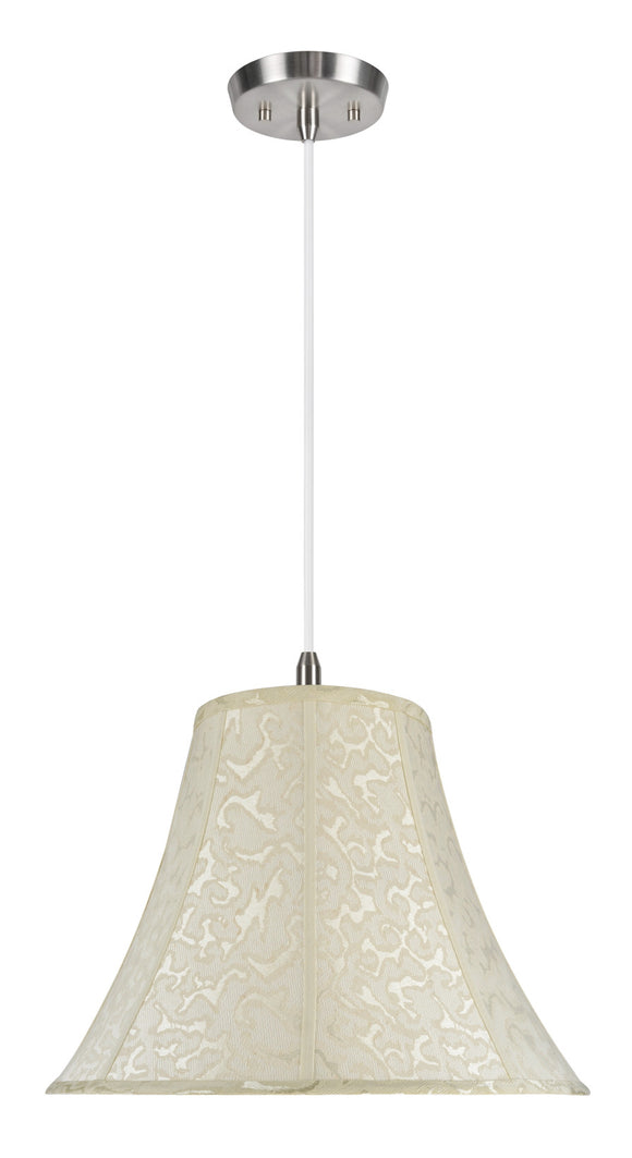 # 70111 2-Light Hanging Pendant Ceiling Light with Transitional Bell Fabric Lamp Shade, Off White Textured Fabric, 18
