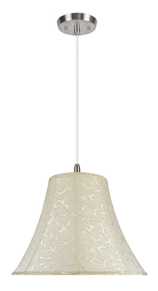 "# 70111 2-Light Hanging Pendant Ceiling Light with Transitional Bell Fabric Lamp Shade, Off White Textured Fabric, 18"" W"