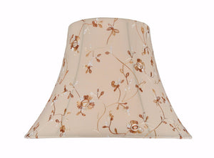 "# 30141 Transitional Bell Shape Spider Construction Lamp Shade in Apricot Fabric with Floral Design, 18"" wide (9"" x 18"" x 13"")"