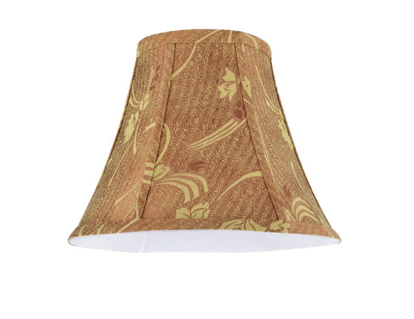 "# 30156  Transitional Bell Shape Spider Construction Lamp Shade in Copper Fabric with Accents, 12"" wide (6"" x 12"" x 9 1/2"")"