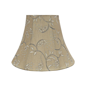 "# 30163 Transitional Bell Shape Spider Construction Lamp Shade in Light Gold, 12"" wide (6"" x 12"" x 9-1/2"")"