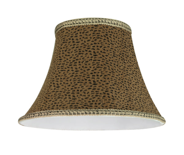 "# 30212 Transitional Bell Shape Spider Construction Lamp Shade in Leopard, 13"" wide (7"" x 13"" x 9 1/2"")"