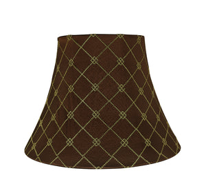 "# 30221, Transitional Bell Shaped Spider Construction Lamp Shade in Brown, 13"" wide (7"" x 13"" x 9 1/2"")"