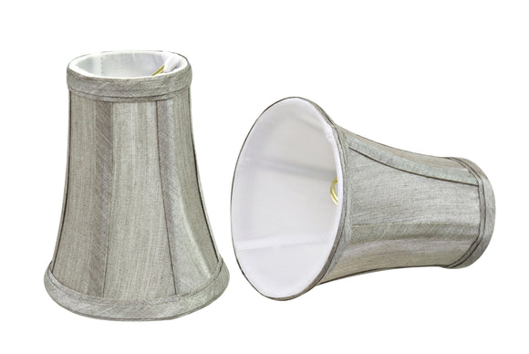 # 30246-X Small Bell Shape Chandelier Clip-On Lamp Shade Set of 2, 5, 6,and 9, Transitional Design in Silver Grey, 4