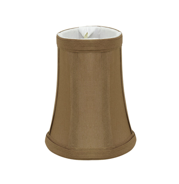 "# 30247-X Small Bell Shape Chandelier Clip-On Lamp Shade Set of 2, 5, 6,and 9, Transitional Design in Light Brown, 4"" bottom width (2 1/2"" x 4"" x 5"" )"