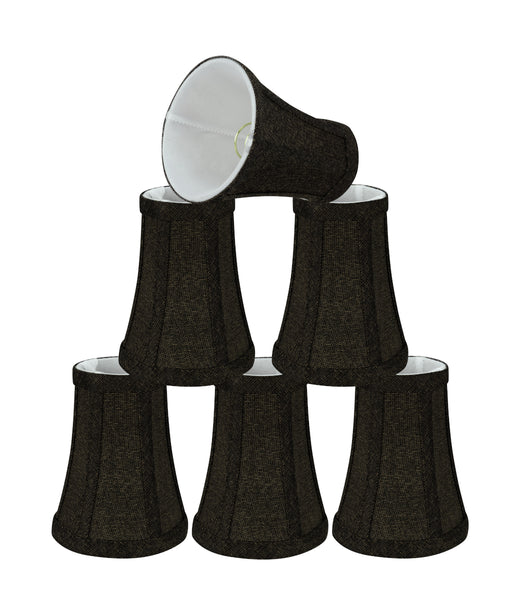 "# 30248-X Small Bell Shape Chandelier Clip-On Lamp Shade Set of 2, 5, 6,and 9, Transitional Design in Two-Tone Black, 4"" bottom width (2-1/2""x 4"" x 5"" )"