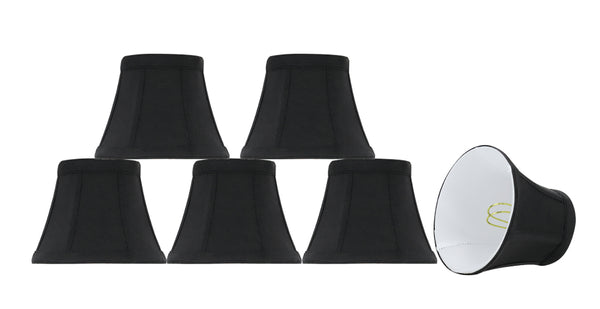 "# 30271-X Small Bell Shape Chandelier Clip-On Lamp Shade Set of 2, 5, 6,and 9, Transitional Design in Black, 5"" bottom width (3"" x 5"" x 4"" )"