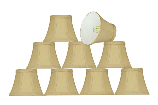 "# 30274-X Small Bell Shape Chandelier Clip-On Lamp Shade Set of 2, 5, 6,and 9, Transitional Design in Beige, 5"" bottom width (3"" x 5"" x 4"" )"