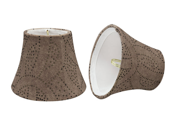 # 30276-X Small Bell Shape Chandelier Clip-On Lamp Shade Set, Transitional Design in Brown, 5