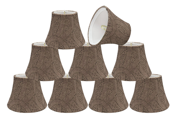 "# 30276-X Small Bell Shape Chandelier Clip-On Lamp Shade Set, Transitional Design in Brown, 5"" bottom width (3"" x 5"" x 4"" )"