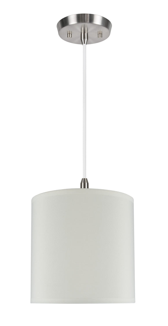 # 71003  One-Light Hanging Pendant Ceiling Light with Transitional Hardback Drum Fabric Lamp Shade, Butter Creme, 8