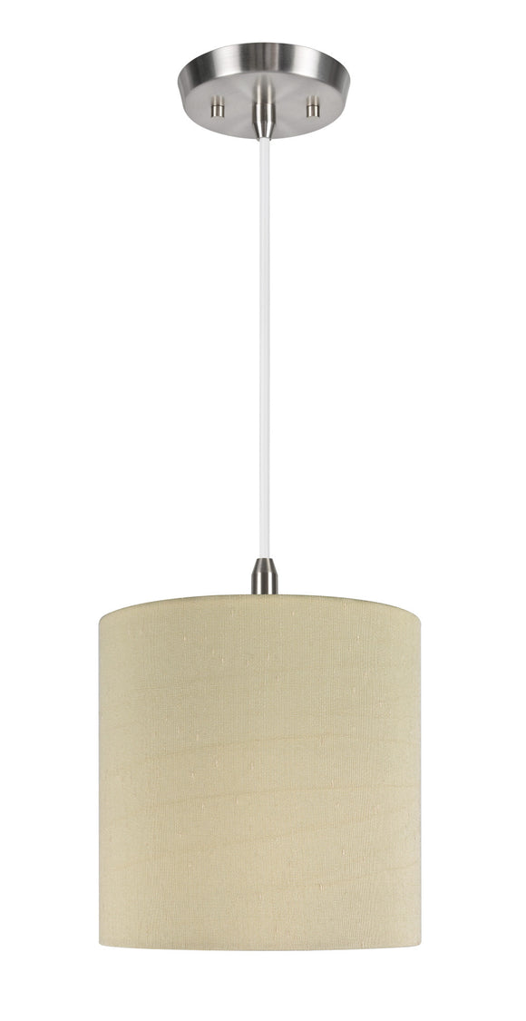 # 71004  1-Light Hanging Pendant Ceiling Light with Transitional Hardback Drum Lamp Shade in Gold Texture Fabric, 8