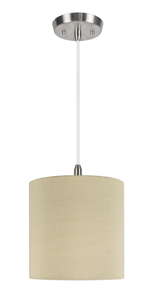 "# 71004  1-Light Hanging Pendant Ceiling Light with Transitional Hardback Drum Lamp Shade in Gold Texture Fabric, 8"" W"