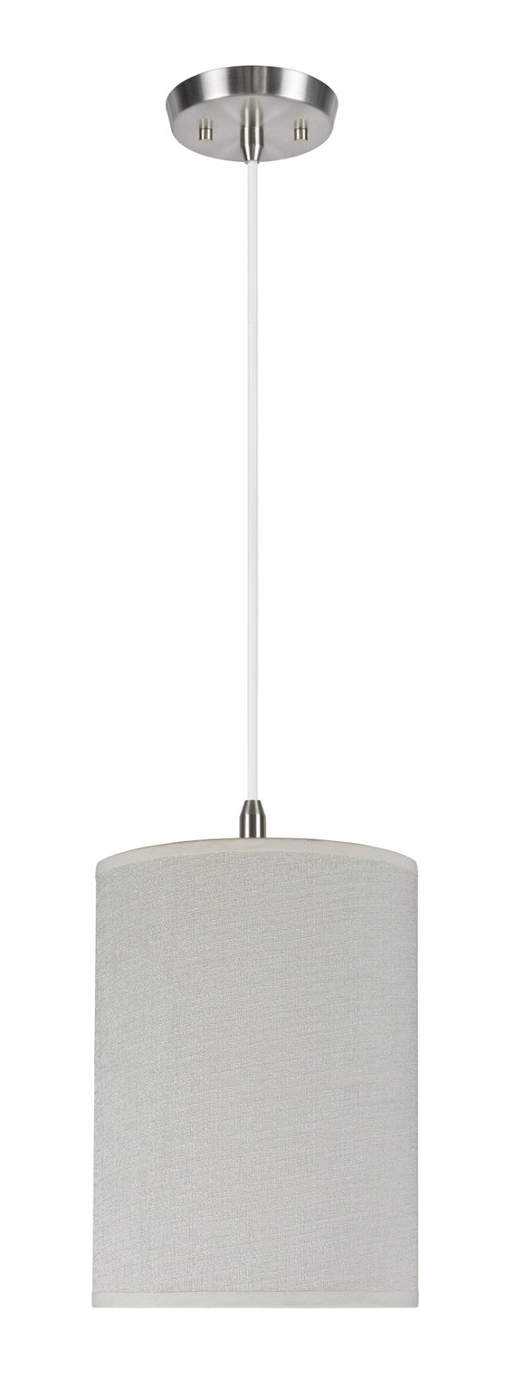# 71005 1-Light Hanging Pendant Ceiling Light with Transitional Hardback Drum Fabric Lamp Shade, Off White, 8
