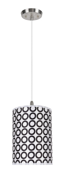 "# 71006 1-Light Hanging Pendant Light with Transitional Hardback Drum Fabric Lamp Shade, Black/White Geometric Print, 8"" W"