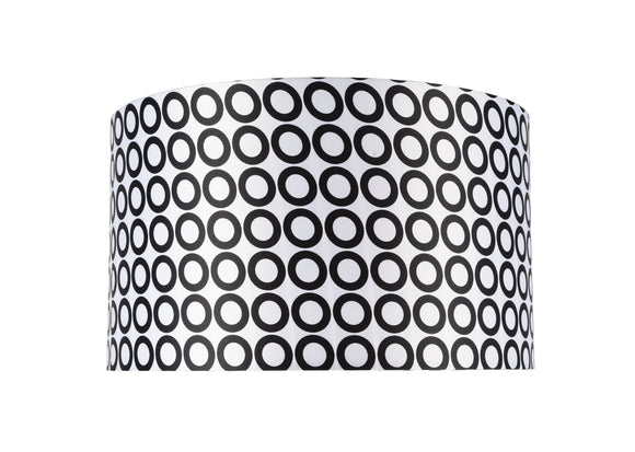 # 31008 Transitional Hardback Drum (Cylinder) Shape Spider Construction Lamp Shade in a Black & White Geometric Print, 17