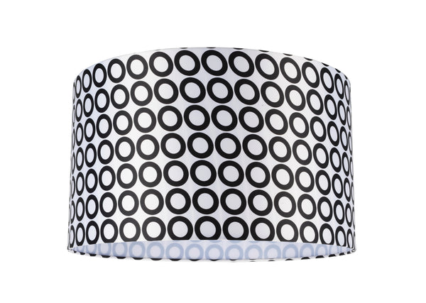 "# 31008 Transitional Hardback Drum (Cylinder) Shape Spider Construction Lamp Shade in a Black & White Geometric Print, 17"" wide (17"" x 17"" x 10"")"