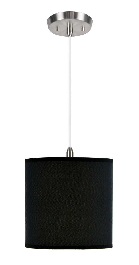 # 71009 One-Light Hanging Pendant Ceiling Light with Transitional Hardback Fabric Lamp Shade in Black Rayon, 8