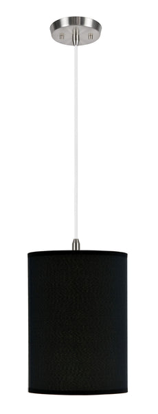 "# 71010  1-Light Hanging Pendant Ceiling Light with Transitional Hardback Fabric Lamp Shade,  Black Tetoron Rayon, 8"" W"