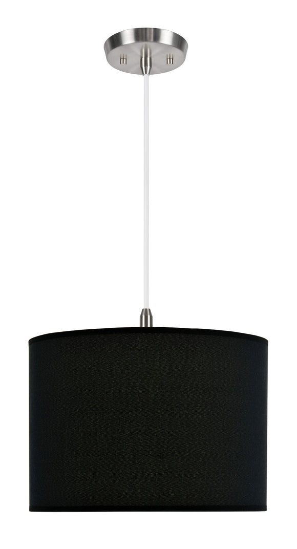 # 71011 1-Light Hanging Pendant Ceiling Light with Transitional Hardback Fabric Lamp Shade, Black Tetoron Rayon , 14