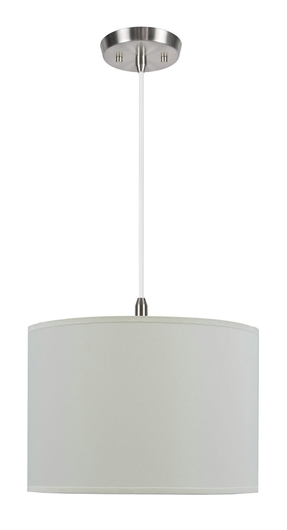 # 71012  1-Light Hanging Pendant Ceiling Light with Transitional Hardback Fabric Lamp Shade, Off White Rayon, 14