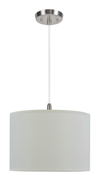 "# 71012  1-Light Hanging Pendant Ceiling Light with Transitional Hardback Fabric Lamp Shade, Off White Rayon, 14"" W"