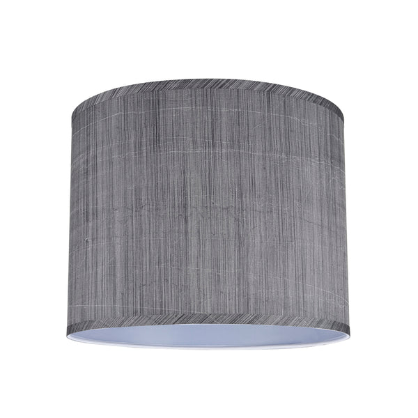 "# 31014 Transitional Hardback Drum (Cylinder) Shape Spider Construction Shade in Grey & Black, 14"" wide (14"" x 14"" x 11"")"