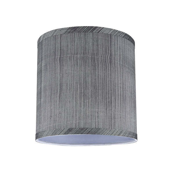 "# 31017 Transitional Hardback Drum (Cylinder) Shape Spider Construction Lamp Shade in Grey & Black, 8"" wide (8"" x 8"" x 8"")"