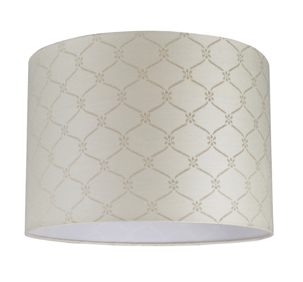 # 31021  Hardback Drum Shaped (spider) Shade in Beige Jacquard Textured Fabric - Aspen Creative Corporation