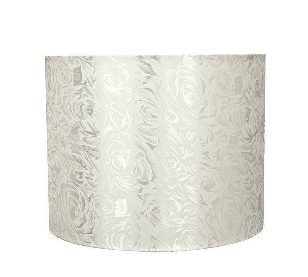 # 31022 Hardback Drum Shaped (spider) Shade in Off White Jacquard Textured Fabric - Aspen Creative Corporation