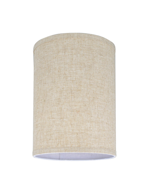 "# 31031 Transitional Hardback Drum (Cylinder) Shape Spider Construction Lamp Shade in Beige Linen, 8"" wide (8"" x 8"" x 11"")"